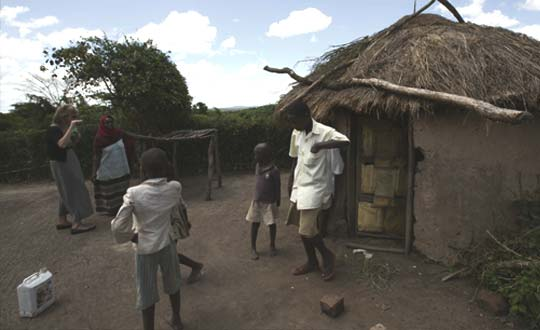 Dancing with villagers